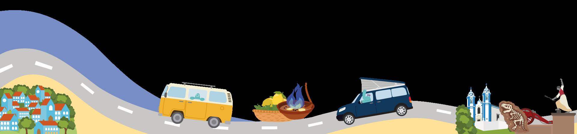 Ilustración carretera y caravanas